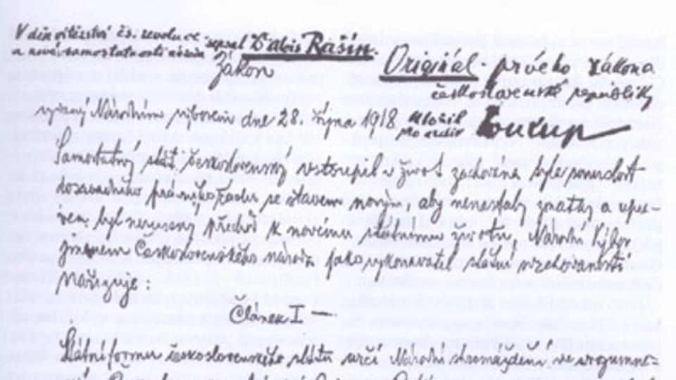 První zákon o vzniku československého státu