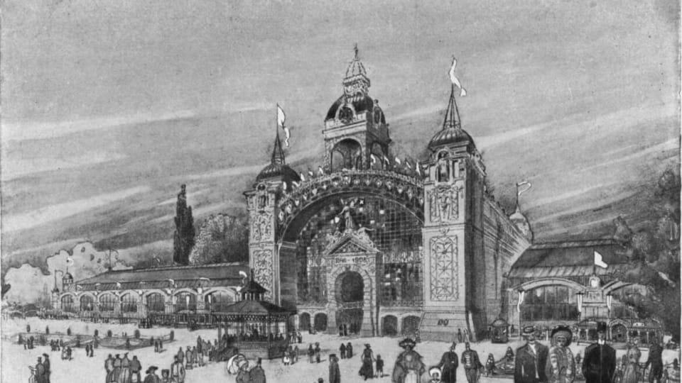 Průmyslový palác,  1908,  foto: repro 'Upomínka na I. Živnostensko-průmyslovou výstavu v Praze'