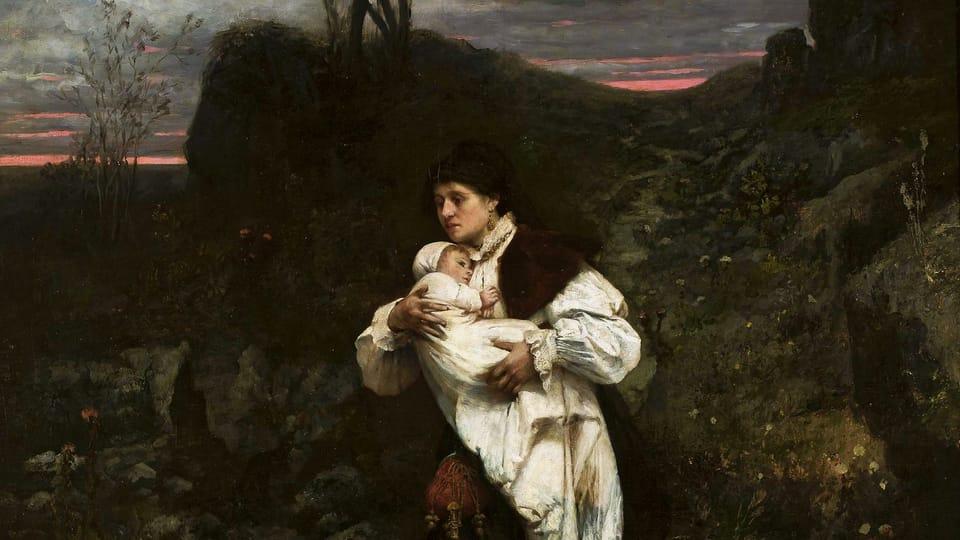 Václav Brožík: Žena s dítětem,  zdroj: archiv Národního muzea ve Varšavě,  Wikimedia Commons,  CC0