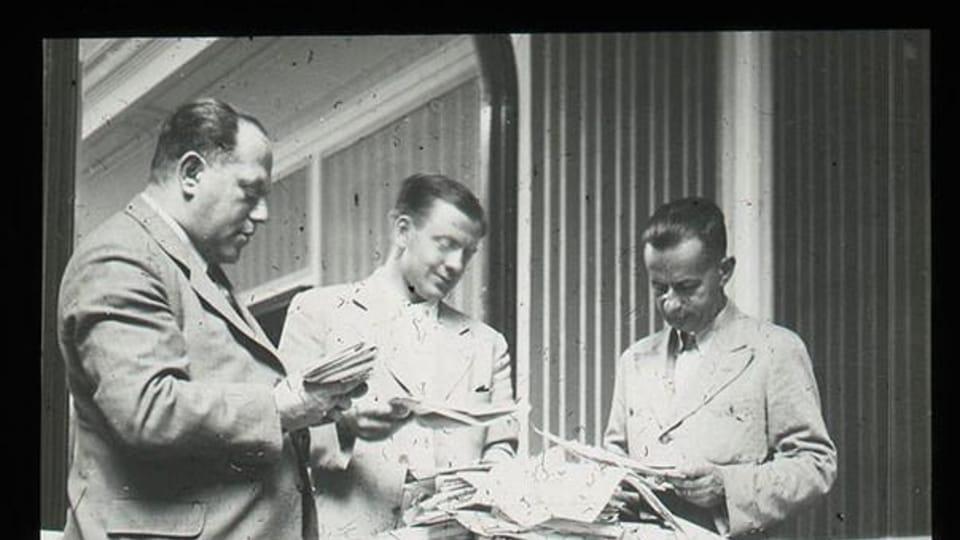 Josef Laufer  (vpravo) na MS ve fotbale,  Itálie,  1934   Foto: e-Sbírky,  Národní muzeum,  CC BY 4.0
