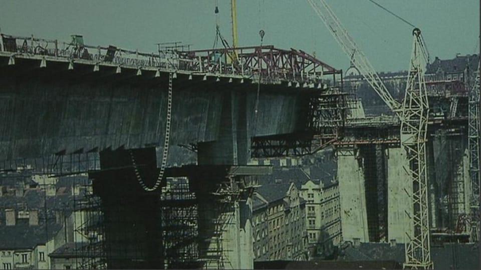 Stavba Nuselského mostu,  foto: ČT24