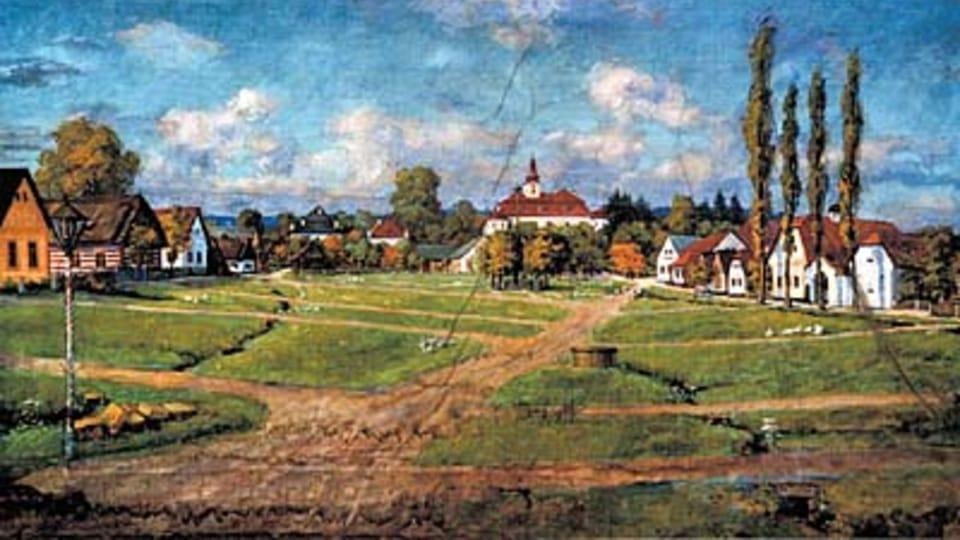 Náves v Holovousech od malíře pokojů Tázlera,  1904 - 1906