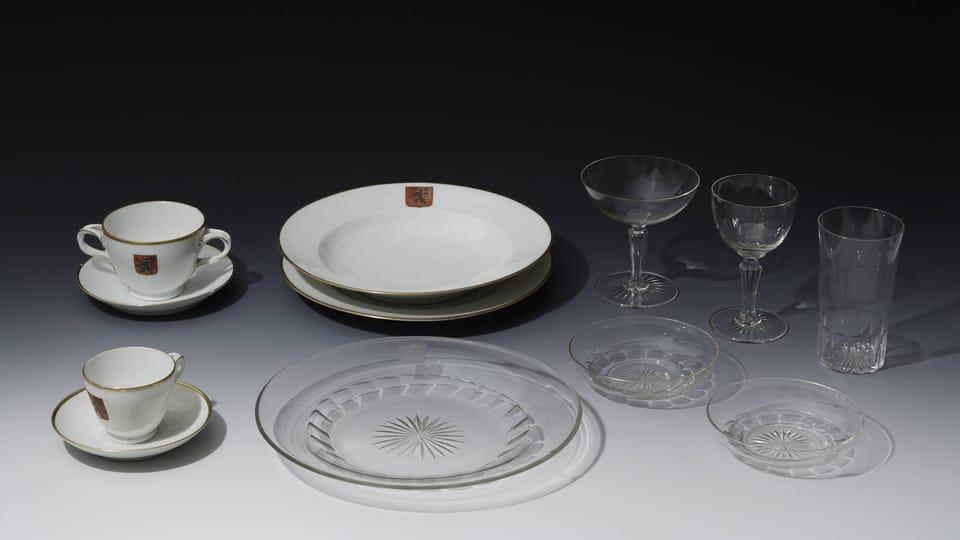 Výběr jídelního servisu prezidenta TGM,  20.léta 20.století,  foto: © Správa Pražského hradu,  Jan Gloc