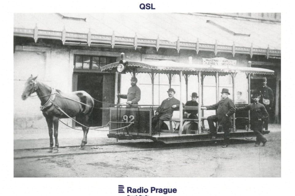 Koněspřežná tramvaj v Praze uvedená do provozu v roce 1875,  foto: Dopravní podnik hlavního města Prahy